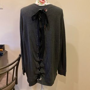 Torrid Gray Tie-Back Sweater Sz 2